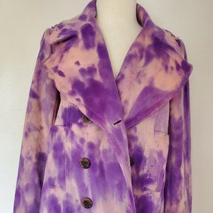 J.Crew winter coat 10 purple pink tie dyed jacket